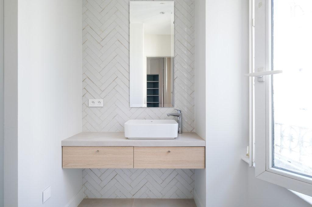 Brotteaux - Après -Salle de douche, Carrelage Marazzi Lume blanc